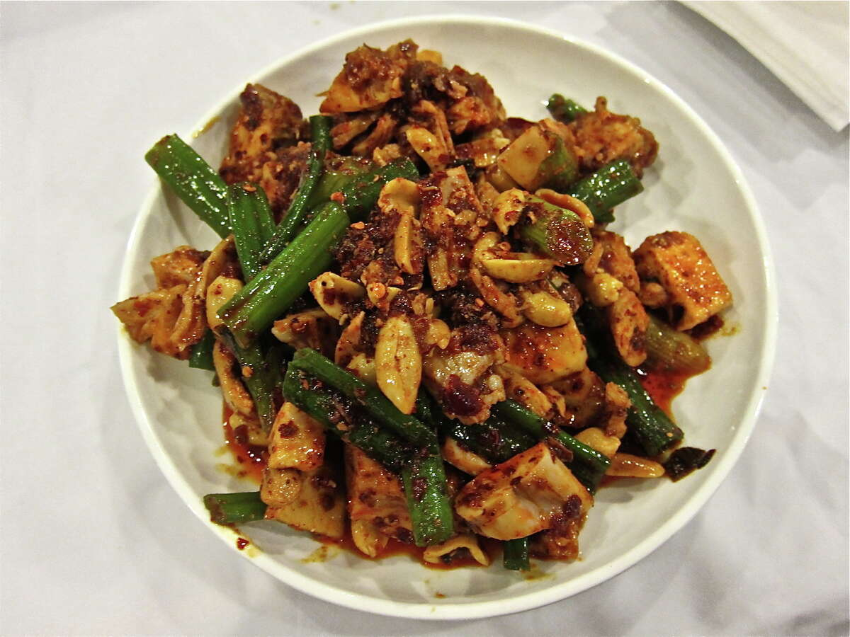 Red oil rabbit with toasted peanut and scallions, Mala Sichuan. Photo by Alison Cook