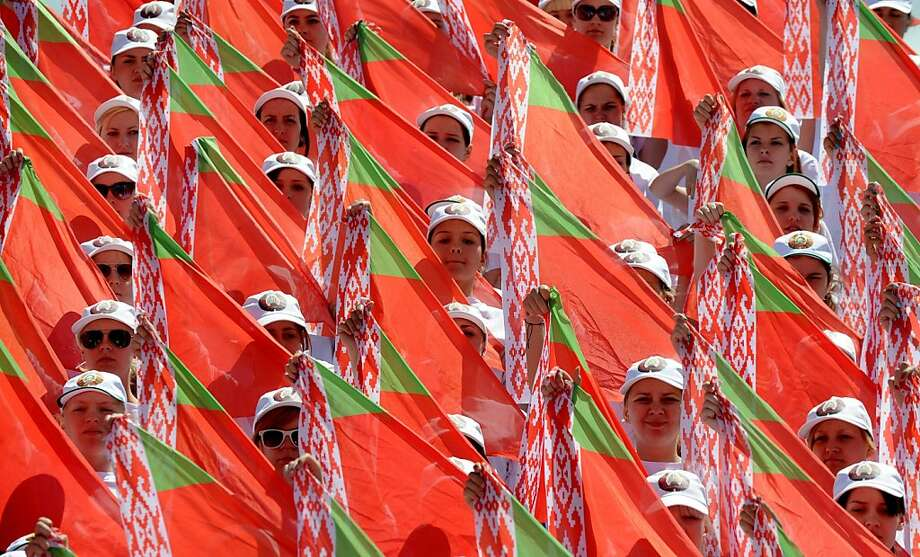 Third of July celebration: Belarus teenagers rehearse for the Independence Day parade in 