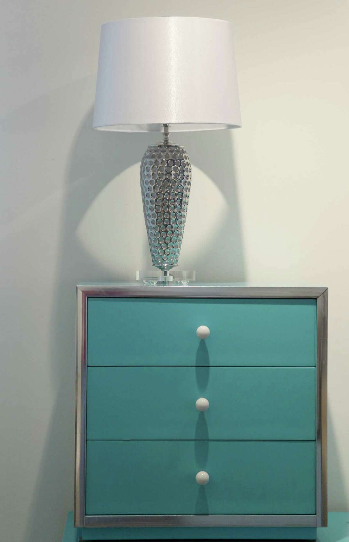 A Tiffany blue dresser.