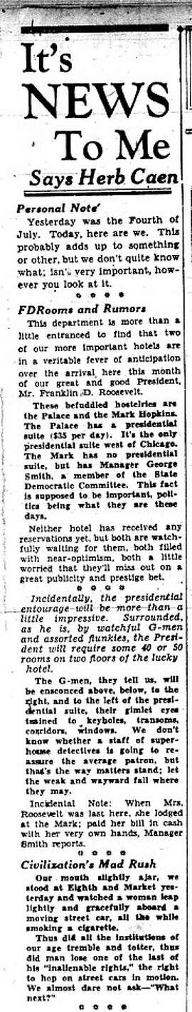 The first half of Herb Caen's first column, which was printed in the Chronicle on July 5, 1938.