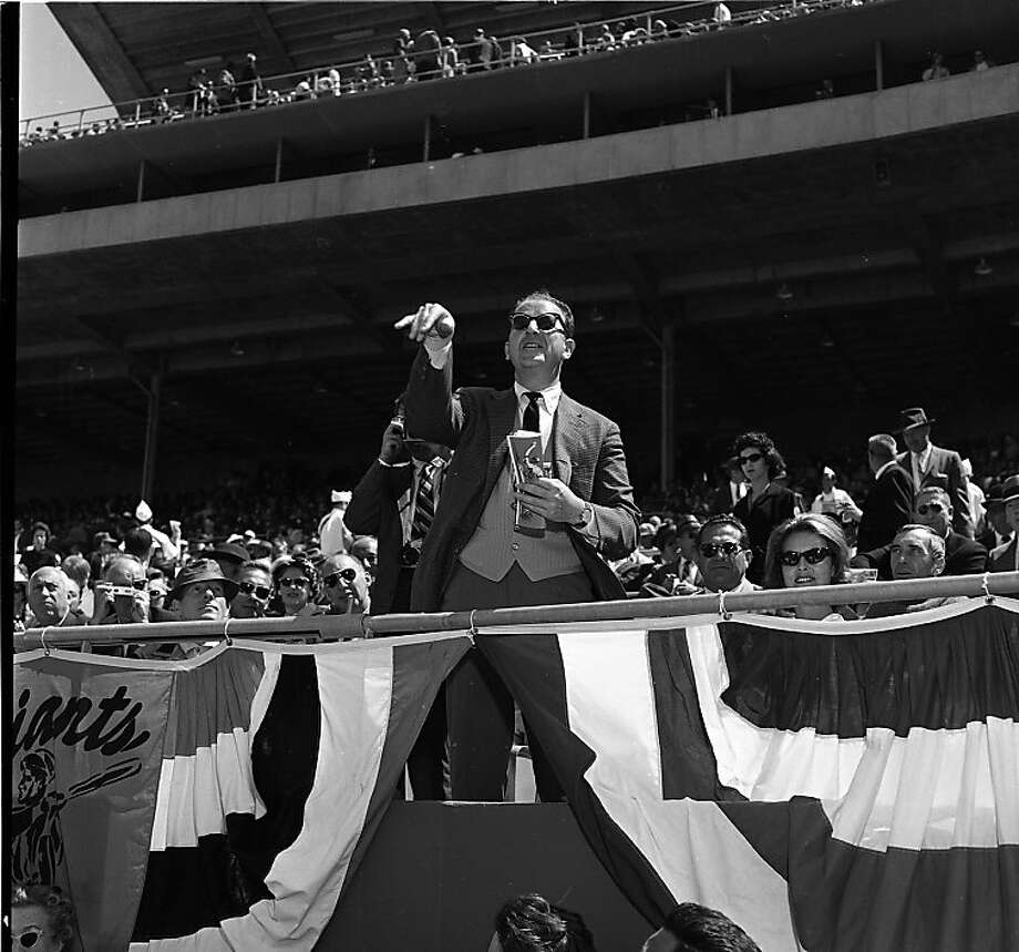 April 20, 1961: Herb Caen at Giants opening day at Candlestick Park. Photo: Bob Campbell, The Chronicle