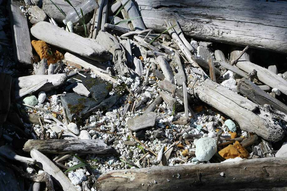 Thousands of tiny foam pieces are invisible without careful inspection in Gore Point wrack line. Photo: Nicholas Mallos/Ocean Conservancy