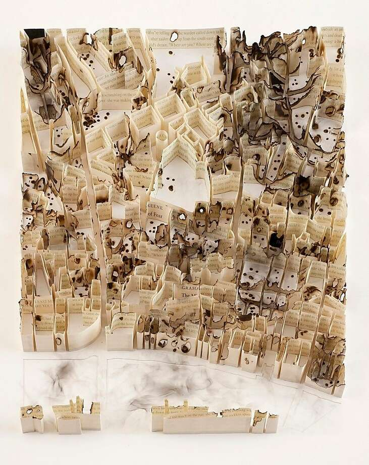 "Matthew Picton's ""London 1940-Clerkenwell"" (2012) is an aerial view relief of cut and singed pages from a book by Graham Greene, ""The Ministry of Fear,"" particularly appropriate for this piece at Toomey Tourell in San Francisco. Photo: Unknown"