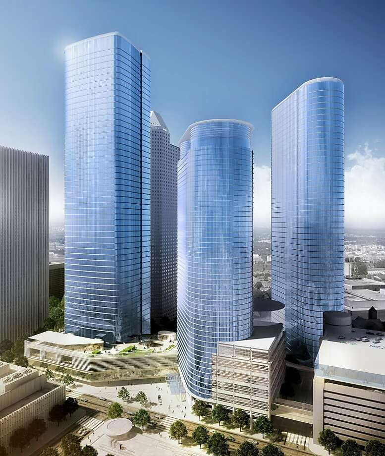 Chevron's proposed tower would form an urban campus with the company's two existing towers in downtown Houston. Photo: Hok, HOK