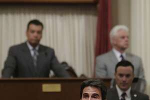 State Sen. Mark Leno, D-San Francisco, urges the passage of a bill regarding transgender students at the state Capitol in Sacramento, Calif., Wednesday, July 3, 2013.  By a 21-9 vote the Senate approved AB1266, by Assemblyman Tom Ammiano, D-San Francisco, that would require that public K-12 schools let transgender  students choose which restrooms they use and which school teams they join based on their gender identity. (AP Photo/Rich Pedroncelli)