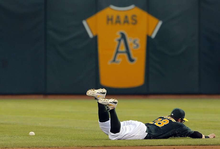 Eric Sogard couldn't get his glove on a ball hit by Starlin Castro in the fifth inning. The Oakland Athletics played the Chicago Cubs at O.co Coliseum in Oakland, Calif., on Wednesday, July 3, 2013. Photo: Carlos Avila Gonzalez, The Chronicle