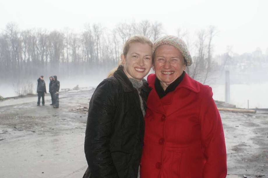 "Mireille, left, and Monique Enos visit during the shooting of ""The Killing"" in Vancouver. Mireille and her siblings attended Houston's High School for the Performing and Visual Arts. Photo: Family Photo"