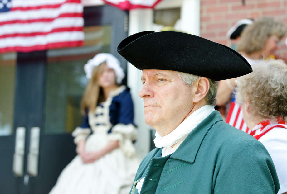 Michael Alcock, of Trumbull, plays the role of Jonathan Trumbull during the Town of Trumbull's second annual Declaration of Independence reading at Trumbull Town Hall on Thursday, July 4, 2013. Photo: Amy Mortensen / Connecticut Post Freelance