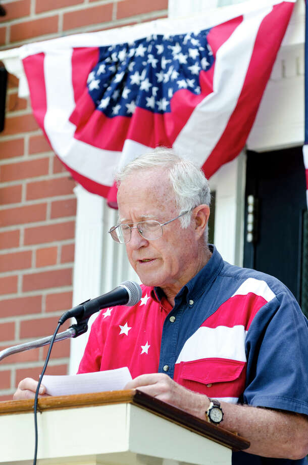 John Pitts, of Trumbull, recites a portion of the Declaration of Independence during the Town of Trumbull's second annual Declaration of Independence reading at Trumbull Town Hall on Thursday, July 4, 2013. Photo: Amy Mortensen / Connecticut Post Freelance
