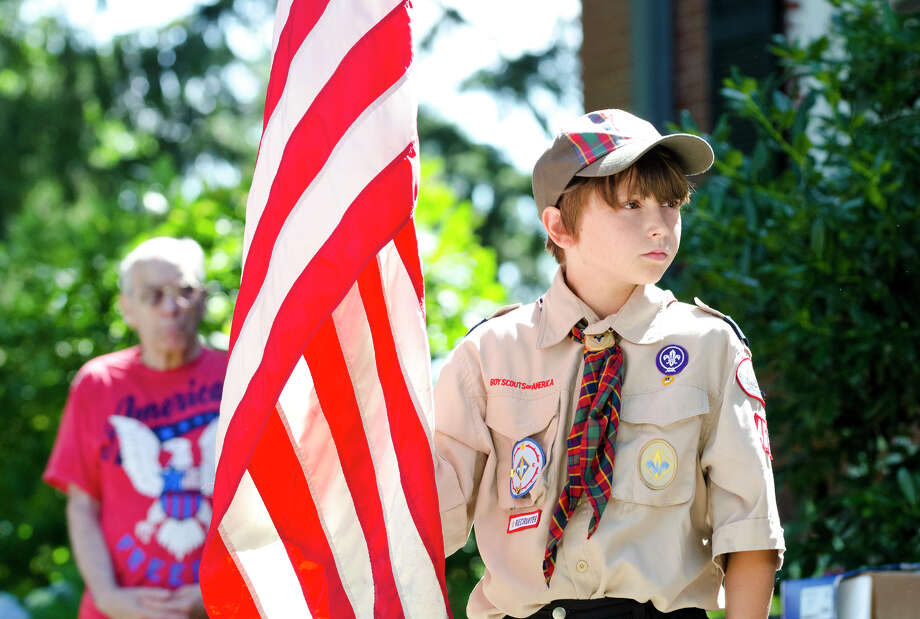 Colin Franzen, 10, of Trumbull Cub Scout Pack 468, participtes in the Town of Trumbull's second annual Declaration of Independence reading at Trumbull Town Hall on Thursday, July 4, 2013. Photo: Amy Mortensen / Connecticut Post Freelance
