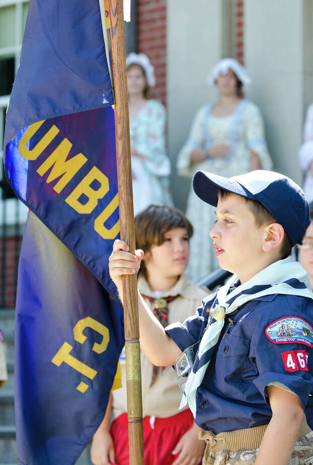 Leo Katz, 7, of Trumbull Cub Scout Pack 468, participates in the Town of Trumbull's second annual Declaration of Independence reading at Trumbull Town Hall on Thursday, July 4, 2013. Photo: Amy Mortensen / Connecticut Post Freelance