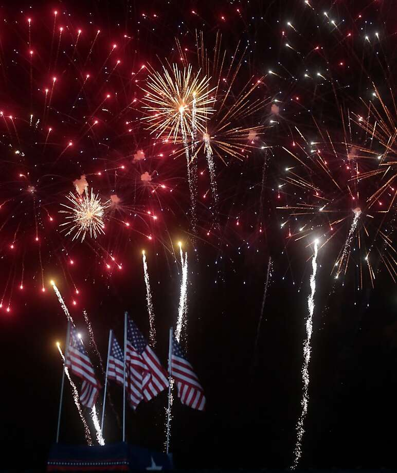 Fireworks burst over Addison, Texas during the Kaboom Town Independence Day celebration on Wednesday, July 3, 2013 at Addison Circle Park.  Photo: Michael Ainsworth, Associated Press