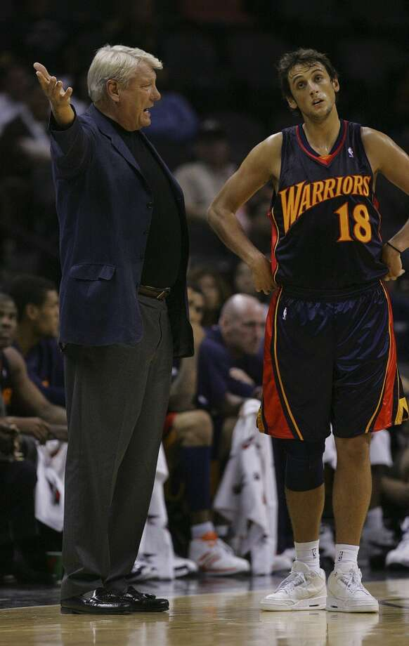 Warriors coach Don Nelson gives instruction to Marco Belinelli in the second half of their preseason game Thursday, Oct. 18, 2007 at the AT&T Center.