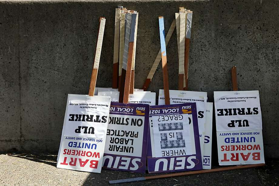 Picket signs again could be upright in two weeks. Photo: Katie Meek, The Chronicle