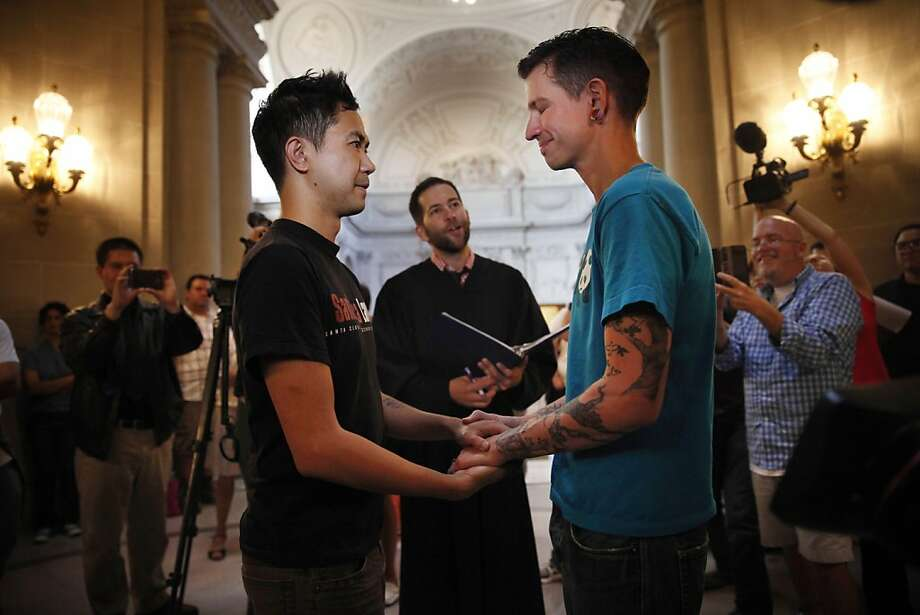 The high court's ruling freed Rob (left) and Jae Keitamo to wed on June 28 in a ceremony officiated by Jared Scherer. Photo: Lea Suzuki, The Chronicle