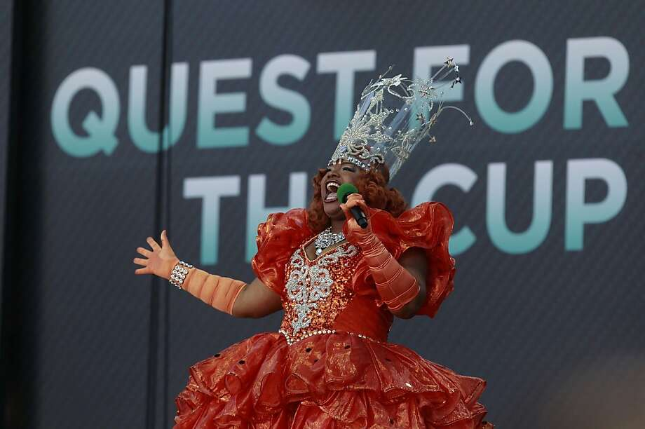 "Misa Malone of Beach Blanket Babylon belts out ""San Francisco"" during the opening day ceremony at America's Cup Park in San Francisco, Calif., on Thursday July 4, 2013. America's Cup Park opens along the Embarcadero at Pier 23 launching the first day of the summer of racing. Photo: Michael Macor, The Chronicle"