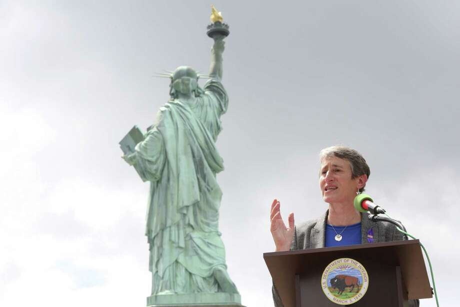 Secretary of the Interior Sally Jewell speaks during Thursday's reopening ceremony for the Statue of Liberty in New York, where Superstorm Sandy swamped its little island in New York Harbor. Photo: Mary Altaffer / Associated Press