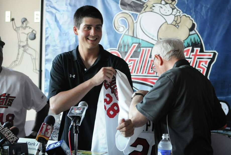 Mark Appel is introduced as a pitcher for the Tri-City ValleyCats Thursday afternoon, July 4, 2013, during a press conference at Joe Bruno Stadium in Troy, N.Y.  Appel was the first round draft pick for Houston. Hea€™ll pitch for the ValleyCats starting Friday night. Will Waldron/Times Union) Photo: WILL WALDRON / 00023058A