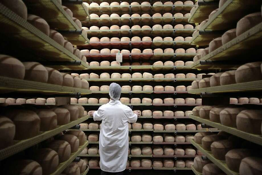 A cheesemonger checks mimolette cheese at a production site of the French Isigny Ste Mere company on July 4, 2014 in Isigny-sur-Mere, northwestern France. After more than a tonne of mimolette cheese has been held up in customs for 3 months, US officials have effectively banned the French speciality, calling it putrid and unfit for food.  Since March, several hundred pounds of the bright orange cheese have been held up by US customs because of a warning by the Food and Drug Administration that it contained microscopic cheese mites. The mites are a critical part of the process to produce mimolette, giving it its distinctive grayish crust.  TOPSHOTS/AFP PHOTO CHARLY TRIBALLEAUCHARLY TRIBALLEAU/AFP/Getty Images Photo: Charly Triballeau, AFP/Getty Images