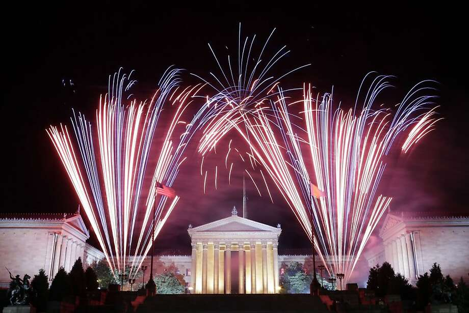 Fireworks explode over the Philadelphia Museum of Art during an Independence Day celebration, Thursday, July 4, 2013, in Philadelphia. Photo: Matt Rourke, Associated Press