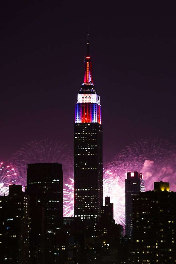 Fireworks light up the Empire State Building along the Manhattan skyline during Macy's 37th Annual Fourth of July fireworks show, Thursday, July 4, 2013, in New York. Photo: John Minchillo, Associated Press