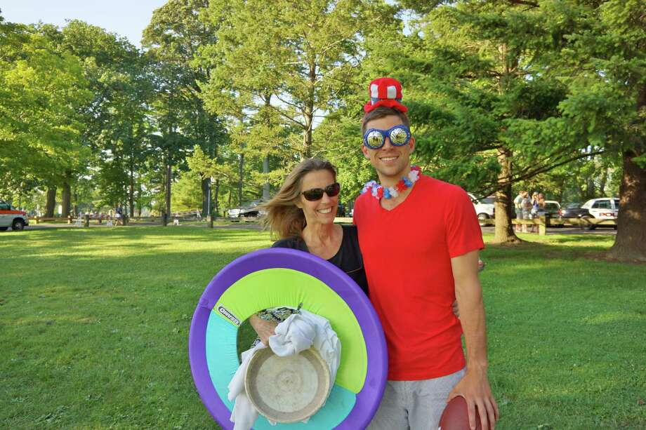 Brendan Mcewan and his mother Kathleen at Waveny Park in New Canaan on the 4th of July 2013. Photo: Todd Tracy/ Hearst Connecticut Media Group