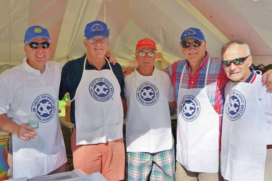 Randy Dalia, Jim Walsh, Bob Clay, Jim Hulec and Marty McLaughlin make difference raising money for those in need. Their tent was set up as they awaited thousands of fireworks revelers at Waveny Park in New Canaan on the 4th of July 2013. Photo: Todd Tracy/ Hearst Connecticut Media Group