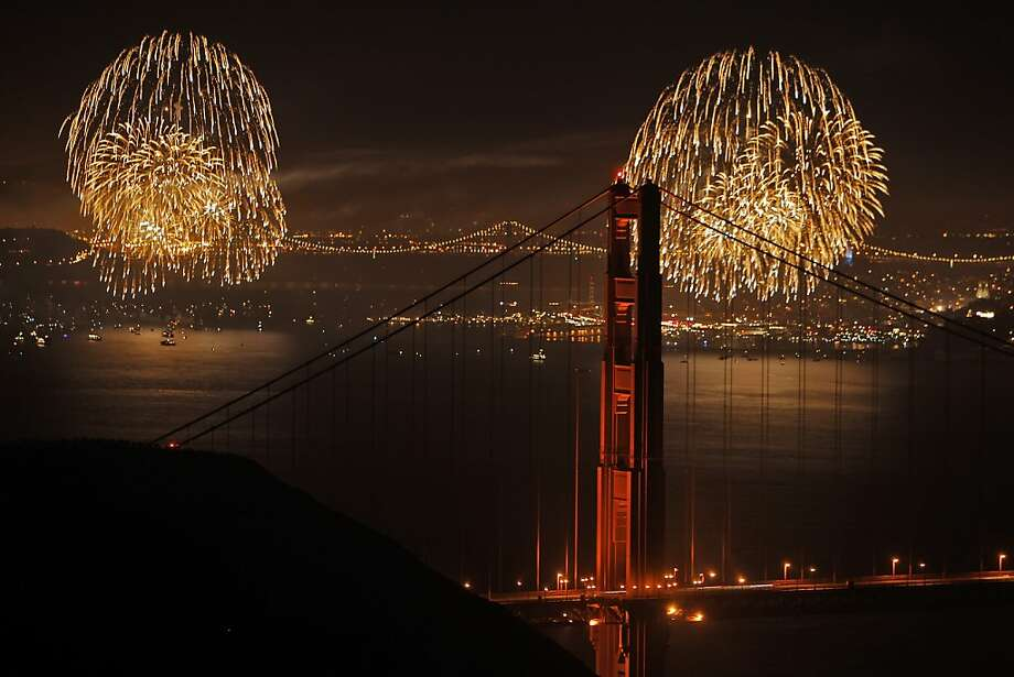 San Francisco's Fourth of July fireworks show is visible through the Golden Gate Bridge in San Francisco, Calif., on Thursday, July 4, 2013. Photo: Carlos Avila Gonzalez, The Chronicle