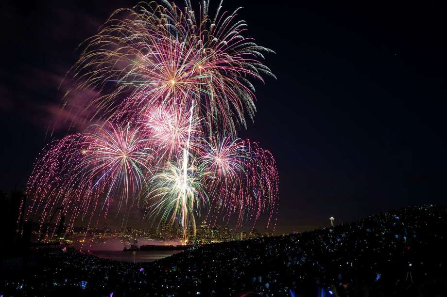 Fireworks explode over Lake Union during the Seafair Summer Fourth event Thursday, July 4, 2013, as seen from Gas Works Park in Seattle, Wash. Photo: JORDAN STEAD, SEATTLEPI.COM / SEATTLEPI.COM