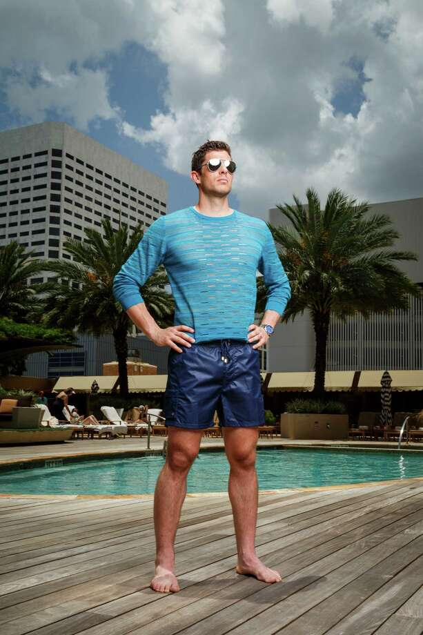 Houston Dynamo soccer player Tally Hall models men's swimwear at the Four Seasons Hotel Houston, Monday, June 24, 2013, in Houston. Photo: Michael Paulsen, Houston Chronicle / © 2013 Houston Chronicle