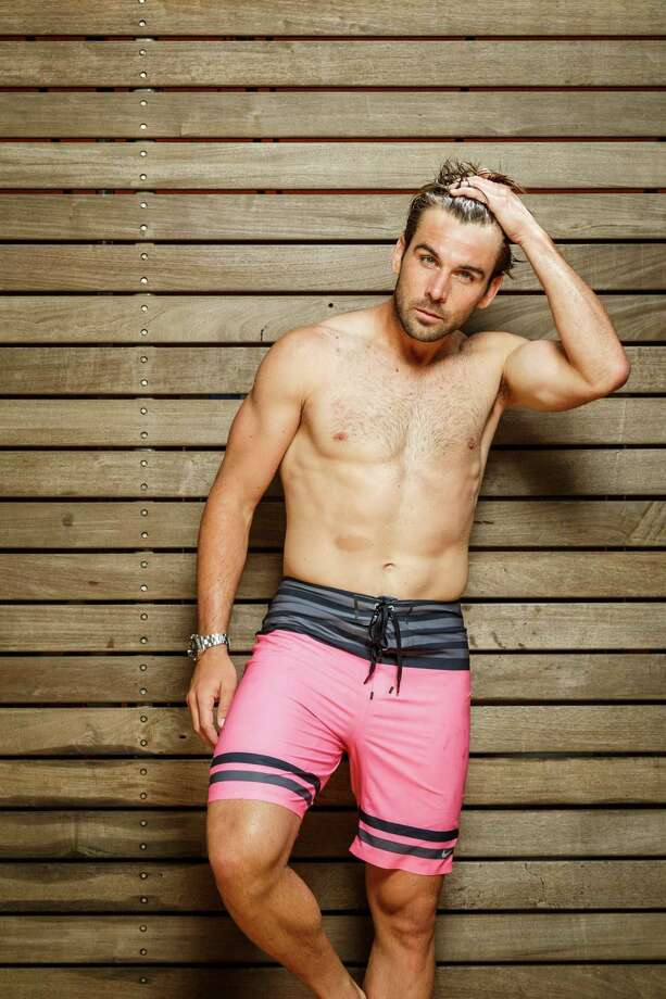 Houston Dynamo soccer player Mike Chabala models men's swimwear at the Four Seasons Hotel Houston, Monday, June 24, 2013, in Houston. Photo: Michael Paulsen, Houston Chronicle / © 2013 Houston Chronicle
