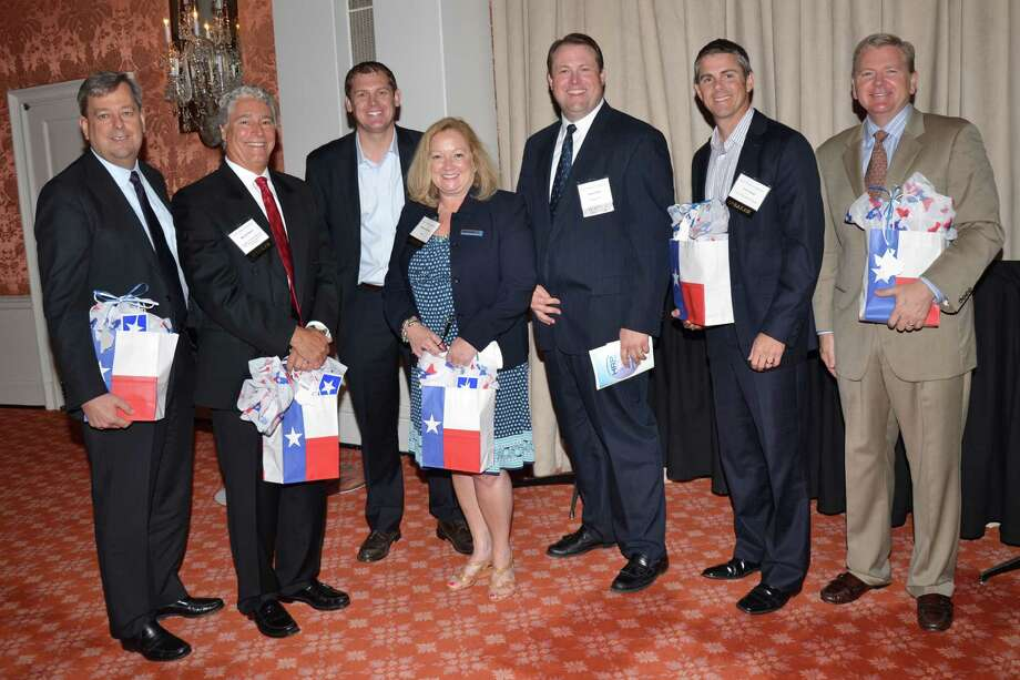 At the event were, from left, Ray Romano, Mike Brubaker, Tom Dempsey, Debbie Holiday, Brian Smith (HRP 2013 President; VP and National Sales Partner Manager for Citibank), Tom James and Matt Spinolo.