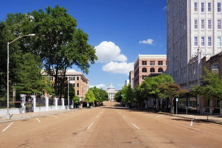 No. 29 (Tie): Jackson, MississippiA total of 1,612 new temp jobs have popped up here since 2009, accounting for 27 percent of job growth in the area.  Road leading towards a government building, Old Mississippi State Capitol, Jackson, Mississippi, USA