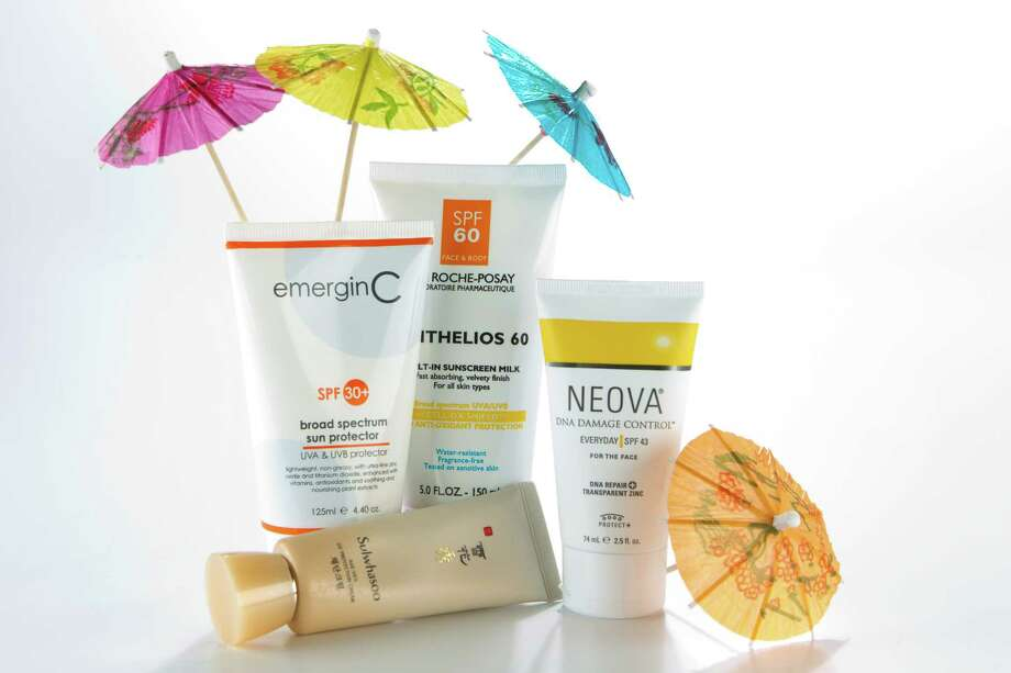John Masters Organics SPF 30 Natural Mineral Sunscreen, EmerginC SPF 30 broad spectrum sun protector, La Roche-Posay Anthelios 60 Melt-in Sunscreen Milk, Neova DNA Damage Control Everyday SPF 45 for the face, and Sulwhasoo Age-Veil UV Protection Cream is shown in the Chronicle Studio Tuesday, June 7, 2011, in Houston. ( Brett Coomer / Houston Chronicle ) Photo: Brett Coomer, Staff / © 2011 Houston Chronicle