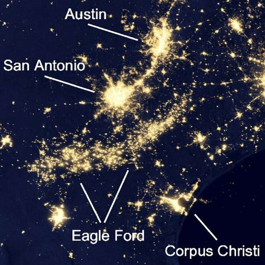 This 2012 image shows the full arc of the Eagle Ford Shale south of San Antonio. (NASA images)