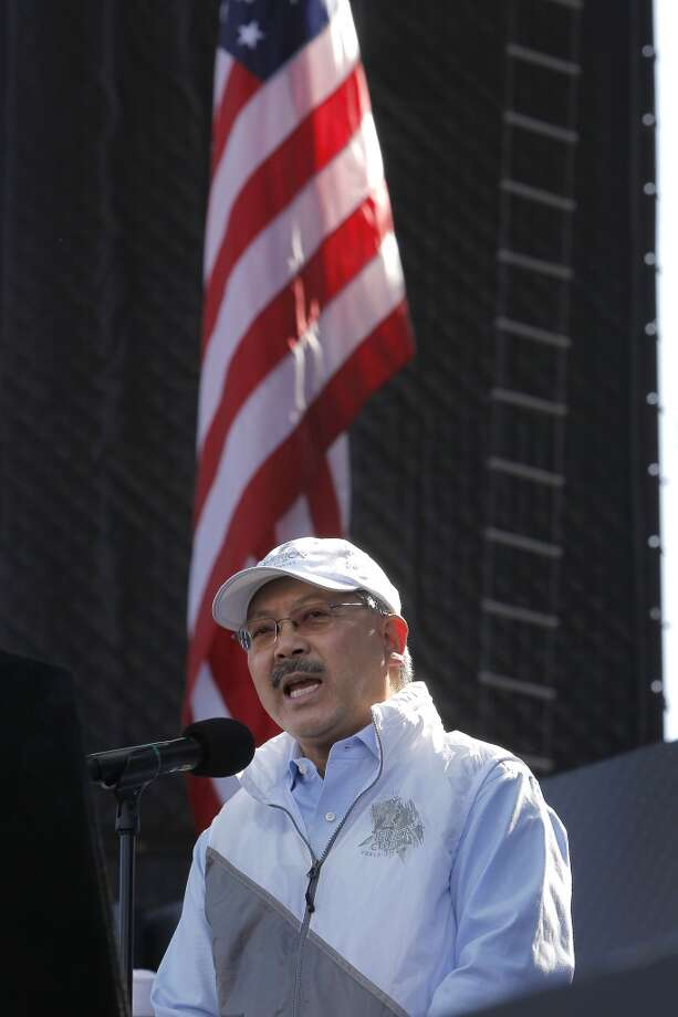 San Francisco Mayor Ed Lee welcomes all to the city during the opening day ceremony at America's Cup Park in San Francisco, Calif., on Thursday July 4, 2013. America's Cup Park opens along the Embarcadero launching the first day of the summer of racing.