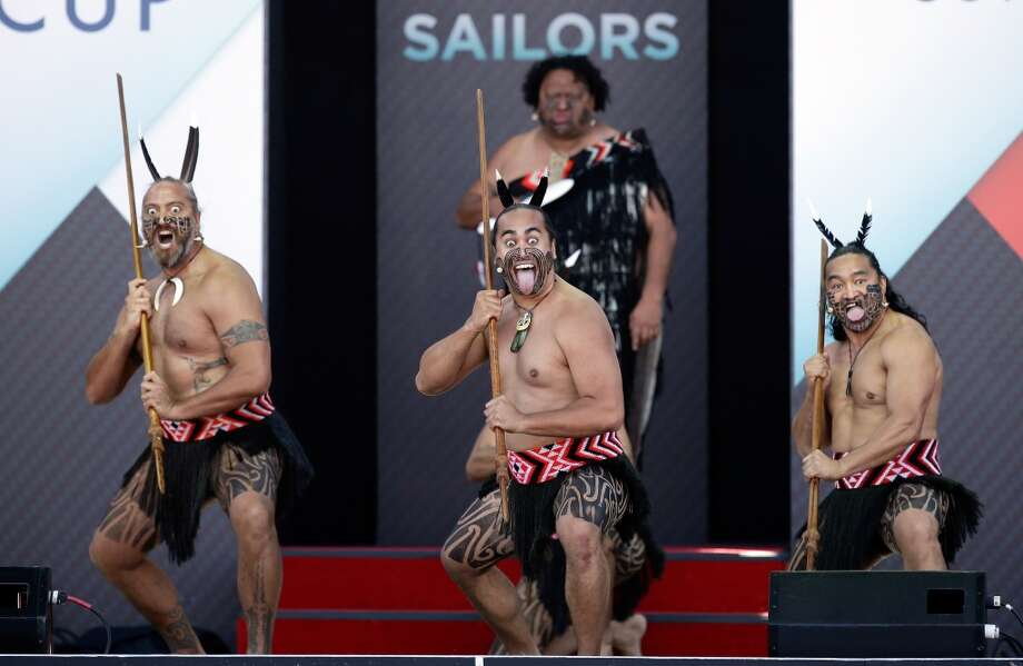 SAN FRANCISCO, CA - JULY 04:  Te Waka Huia of New Zealand perform the hake during the Opening Ceremony for the America's Cup on July 4, 2013 in San Francisco, California.  (Photo by Ezra Shaw/Getty Images)