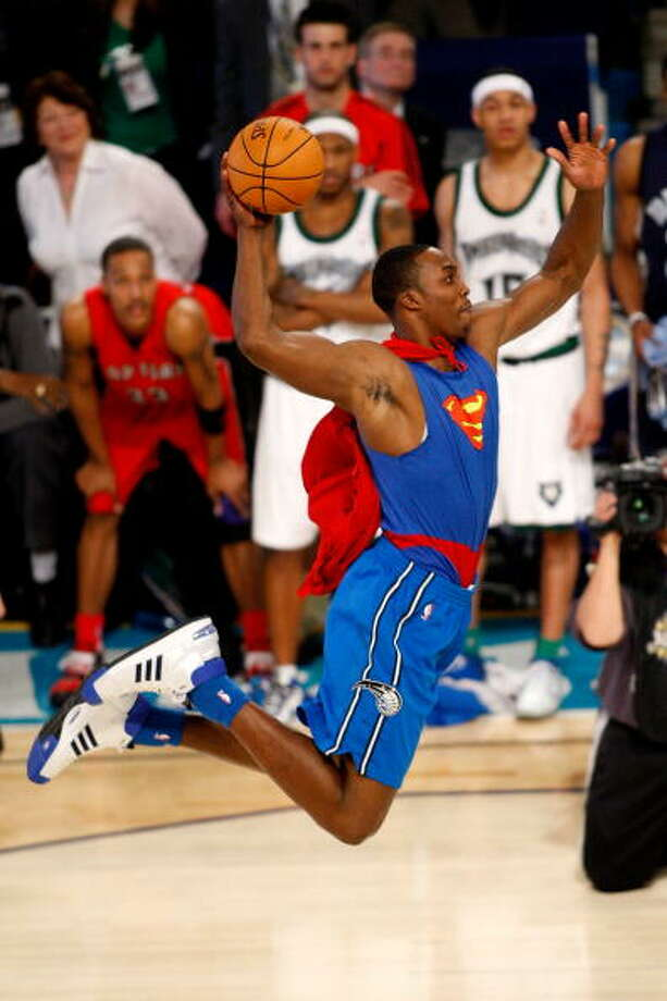 Perhaps one of the more memorable moments in Dwight Howard's career came in 2008, when he dressed up as Superman and threw in a huge dunk in front of the All-Star crowd. Needless to say, he walked away with the Slam Dunk title that year. Photo: Chris Graythen, Getty Images