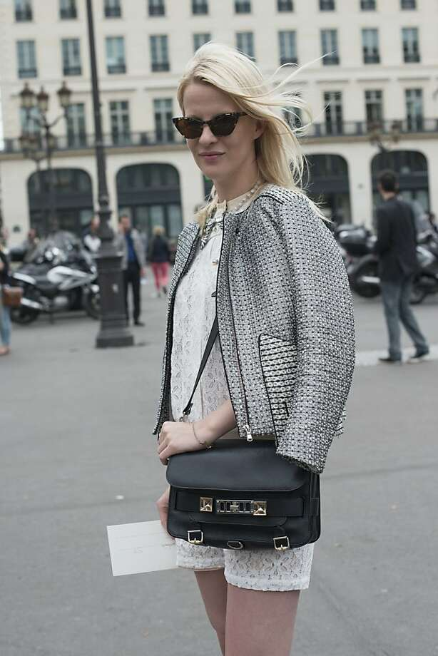 Lisa Stokland wears a Sandro jacket and playsuit, Kaibosh glasses and Proenza Schouler bag on day 3 of Paris Collections: Women's Haute Couture on July 03, 2013 in Paris, France.  (Photo by Kirstin Sinclair/FilmMagic) Photo: Kirstin Sinclair, FilmMagic