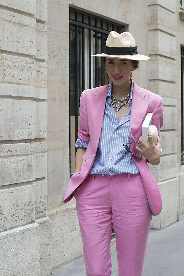 Fashion blogger Diana Enciu wears a Marsay suit, Tommy Hilfiger shirt, J Crew necklace on day 2 of Paris Collections: Women's Haute Couture on July 02, 2013 in Paris, France.  (Photo by Kirstin Sinclair/FilmMagic) Photo: Kirstin Sinclair, FilmMagic