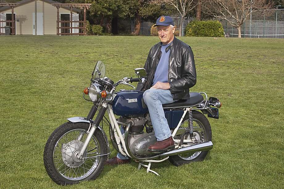 Don Danmeier and his 1971 BSA Lightning Motorcycle photographed at Pioneer Park in Novato, CA, on March 15, 2013 Photo: Stephen Finerty