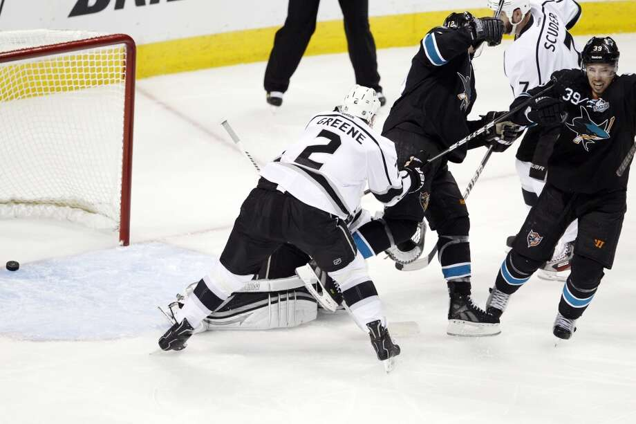 Logan Couture, right, celebrates his goal in the second period. The San Jose Sharks played the Los Angeles Kings in Game four of the NHL Western Conference Semifinals at HP Pavilion in San Jose, Calif., on Tuesday, May 21, 2013.