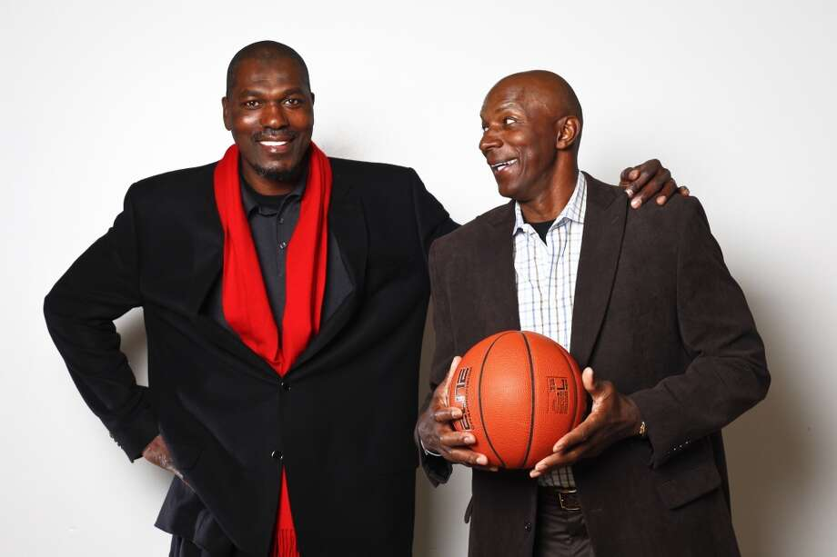 Former Rockets Clyde Drexler and Hakeem Olajuwon