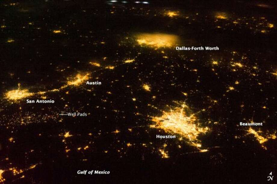NASA marked South Texas well sites in this aerial photo of the state at night. Photo: NASA