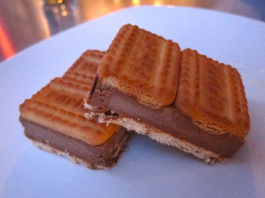 Kids grow up drinking Cadbury's Bournvita chocolate malt in India, the inspiration for Chef Anita Jaisinghani's deliciously addictive Bournvita ice cream sandwiches at Pondicheri, 2800 Kirby in Houston.