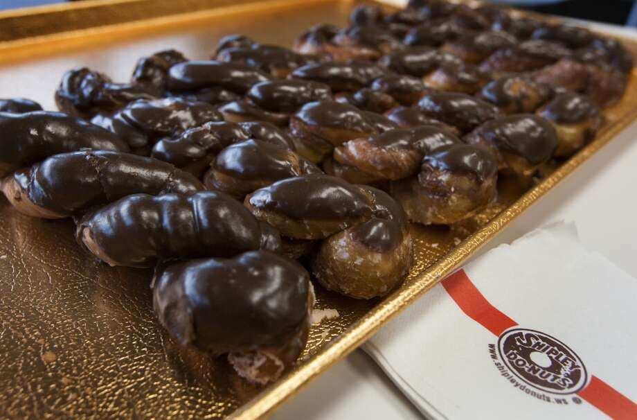 Glazed cinnamon twist with chocolate frosting at Shipley's Do-Nuts.