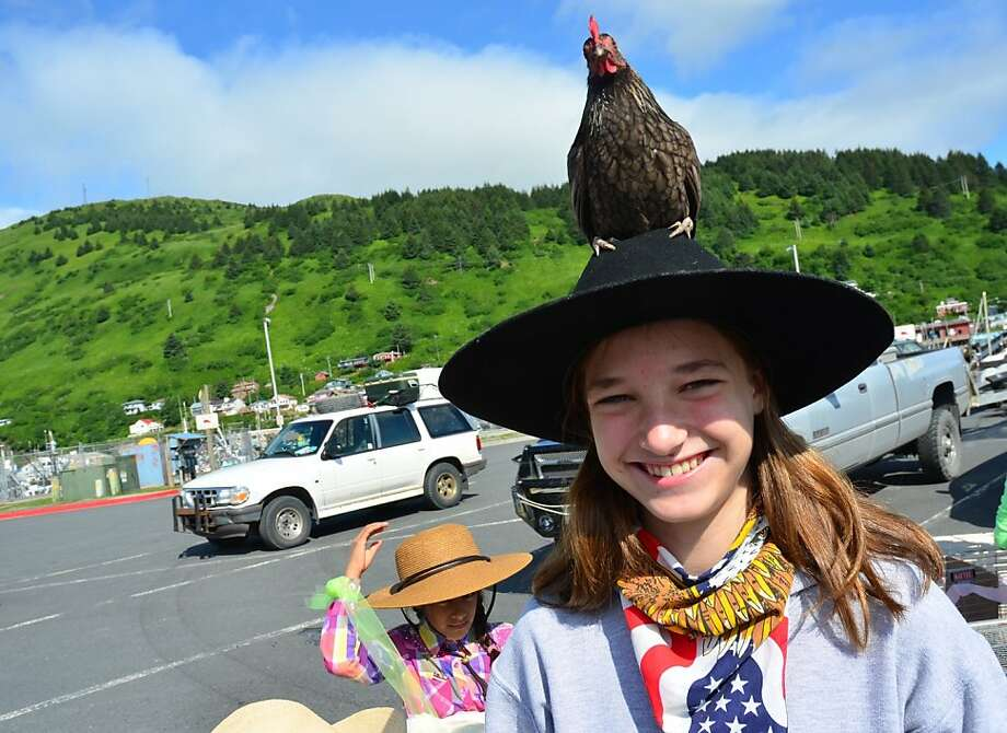 You can tell the truly committed 4-H'ers at the Kodiak Fourth of July Parade in Kodiak, Alaska, by the live chickens on their heads. Roslyn Kriegh calls hers Pigeon. Photo: James Brooks, Associated Press