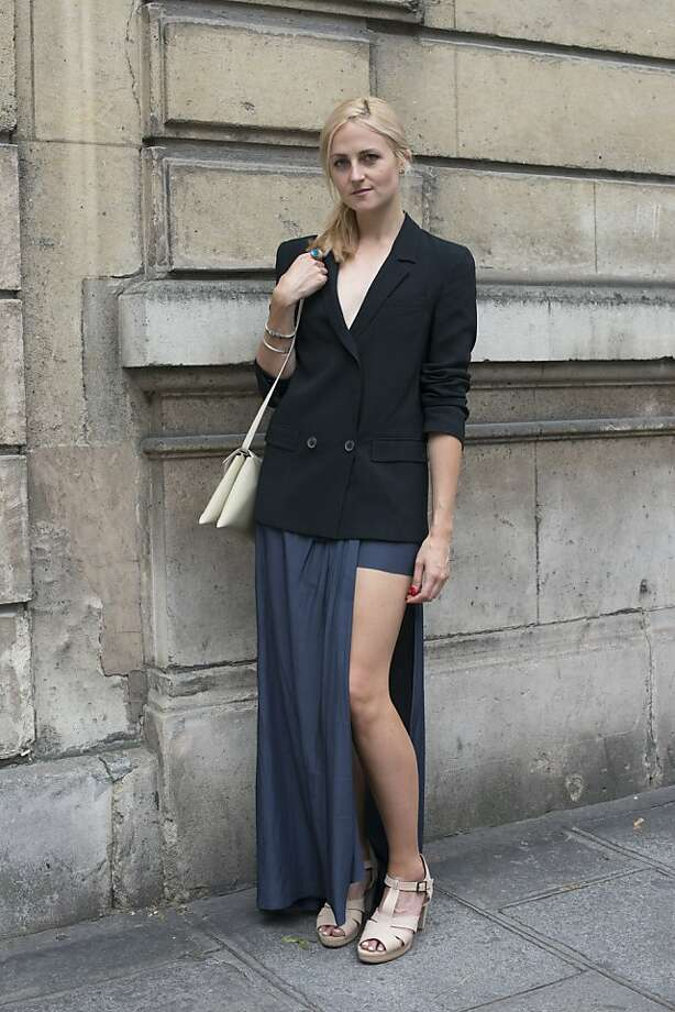 Fashion editor at Fashionising.com Tania Braukamper wears a Zara jacket, Acne skirt, Bul shoes and a Solar bag on day 3 of Paris Collections: Women's Haute Couture on July 03, 2013 in Paris, France.  (Photo by Kirstin Sinclair/FilmMagic) Photo: Kirstin Sinclair, FilmMagic
