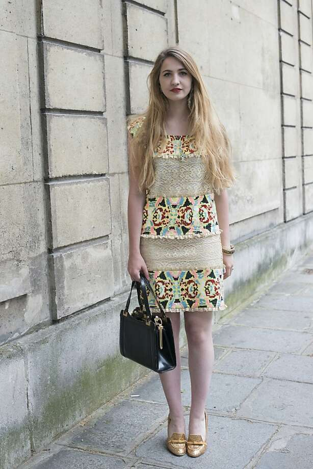 Student Elisa Bourdoin wears a Manoush dress, vintage bag, and Mellow Yellow shoes on day 3 of Paris Collections: Women's Haute Couture on July 03, 2013 in Paris, France.  (Photo by Kirstin Sinclair/FilmMagic) Photo: Kirstin Sinclair, FilmMagic