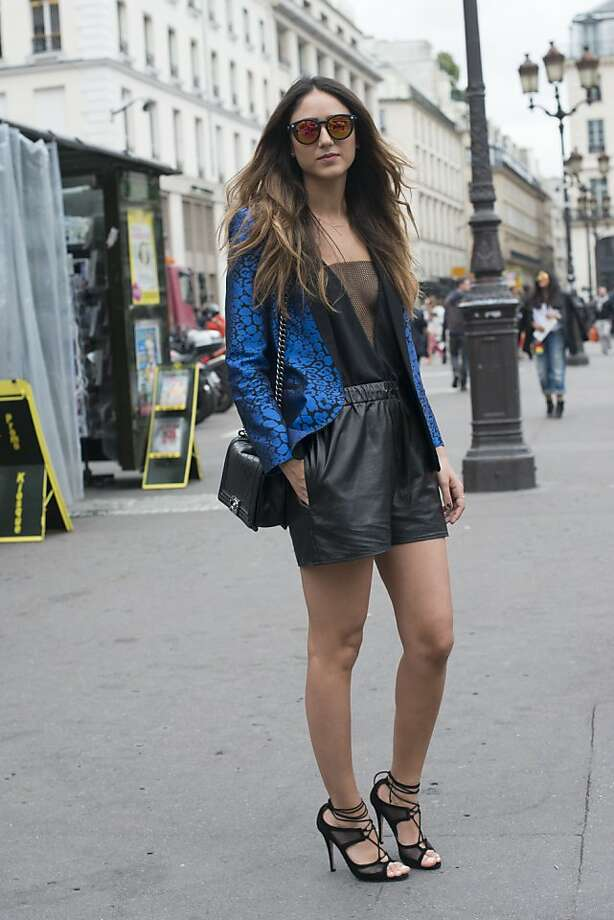 Jewelry designer Soraya Bakhtiar wears a Sandro jacket, Duccio Venturi shoes, H and M top, Top Shop shorts and a Chanel bag on day 3 of Paris Collections: Women's Haute Couture on July 03, 2013 in Paris, France.  (Photo by Kirstin Sinclair/FilmMagic) Photo: Kirstin Sinclair, FilmMagic